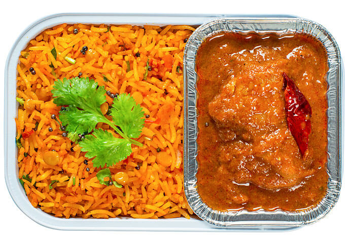 Chicken Chettinad with Tomato Rice