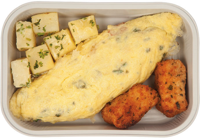 Masala Omelette with Chicken Nuggets and Parsley Potato