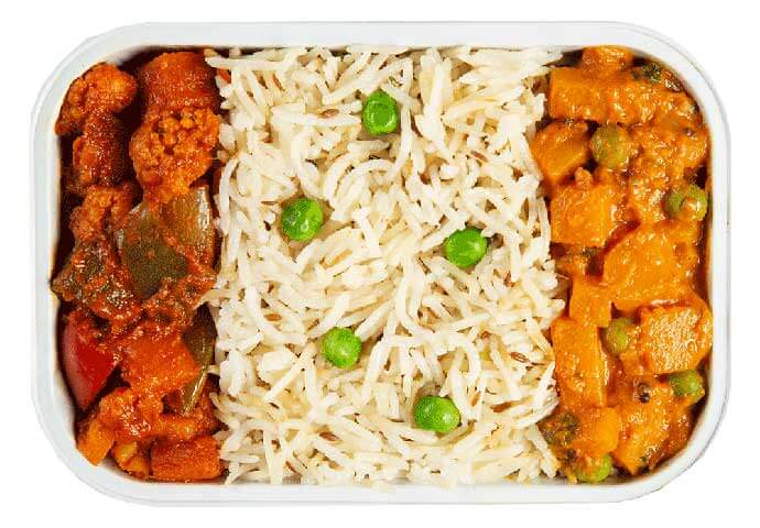 Pumpkin Kootu and Vegetable Jalfrezi with Jeera Rice