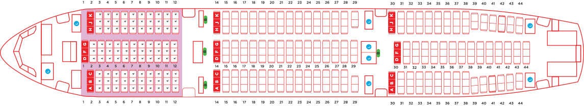 AirAsia Airbus A330 type d seat map